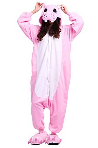 Pyjamas Schlafanzug Erwachsene Cosplay Kostüm Karneval Halloween Rosa Nilpferd (Erwachsene Kostüm Nilpferd Für)