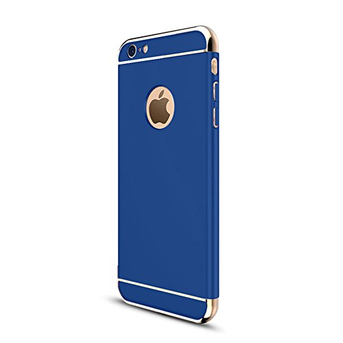 """iPhone 6s Case, iPhone 6 4.7"""" Case,Heyqie 3 in 1 Ultra-thin 360 Full Body Anti-Scratch Shockproof Hard PC Non-Slip Skin Smooth Back Cover Case with Electroplate Bumper For Apple iPhone 6 6s 4.7"""" - Red Blue"""