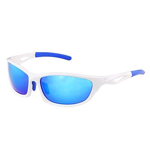 Duco occhiali da sole polarizzati per ciclismo in corso golf pesca e tutti gli sport all'aria aperta 100% tr 90 flessibile unbreakable telaio 6211 (cornice bianca revo blue lens)