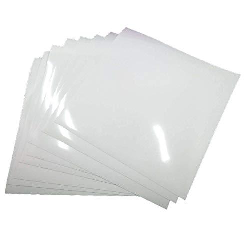 8 Blatt Transferpapier Vinylfolien T-Shirt Folie Transferfolie PU Textilfolie zum Aufbügeln auf Textilien DIY 25.5x25.5cm Weiß