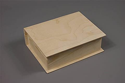 PLAIN WOOD WOODEN BOX HINGED JEWELLERY LARGE BOOK BOX DECOUPAGE (PD4L)
