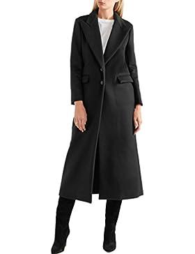 WanYang Abrigo Largo De Mujer Negro Tamaño Grande Abrigo De Manga Larga Chaqueta De Traje De Moda
