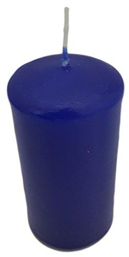 H177 Stumpen Kerze 110 Stunden 10cmx5,8cmØ blau in Cellophan Stumpenkerze