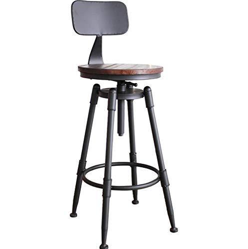 FENG Stuhl Bar Chair Vintage Drehsessel aus Massivholz Hochhocker Eisen Zurück Home Barhocker (Farbe : A) -