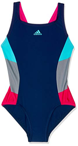 adidas Mädchen FIT 1PC CB Y Swimsuit, Dark Blue/Bright Cyan, 11-12 Years