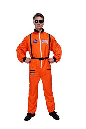 Maxim Party Supplies Herren Astronauten-Kostüm Overall für Erwachsene mit bestickten Patches und Taschen - Orange - (Nasa Bestickte Kostüm)