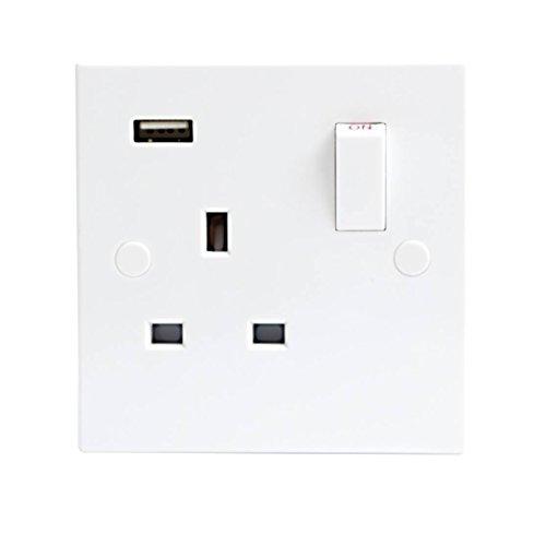 Knightsbridge Premium-Sortiment von Standard-Schaltern & -Steckdosen, 13A 1G DP SWITCHED SOCKET with USB Charging Switched Socket