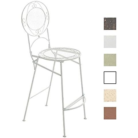 CLP Sgabello da giardino outdoor / sedia da bar NADIA, pieghevole, altezza seduta 72 cm, design rustico, metallo (ferro) fatto a mano bianco antico