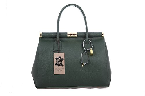 CTM Borsa Bauletto da Donna Elegante con Manici e Tracolla, 35x28x16cm, Vera pelle Made in Italy Verde