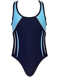 Landora® hochgeschlossener, sportlicher Mädchen Badeanzug / Schwimmanzug in marineblau/türkis -- Oeko-Tex® Standard 100