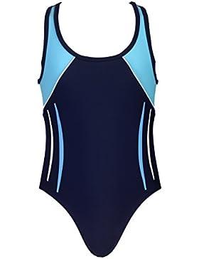 Landora® hochgeschlossener, sportlicher Mädchen Badeanzug / Schwimmanzug in marineblau/türkis -- Oeko-Tex® Standard...
