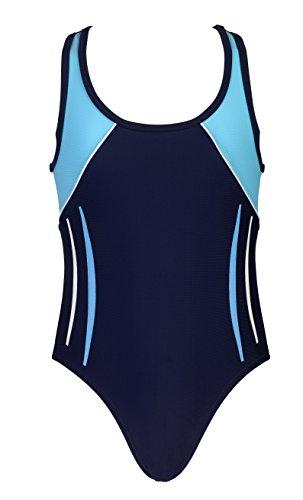 Landora® hochgeschlossener, sportlicher Mädchen Badeanzug/Schwimmanzug in Marineblau/türkis - Oeko-Tex® Standard 100 in Größe 140