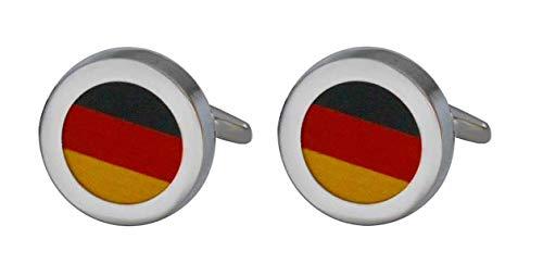 Unbekannt Deutschlandfarben Manschettenknöpfe Flagge silbern rund - Farben schwarz rot Gelbgold + Geschenkbox