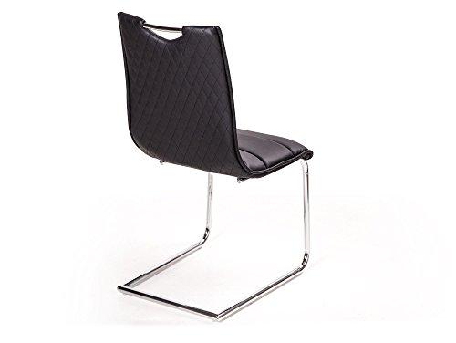 MILANO Freischwinger Esszimmerstuhl Schwingstuhl Stuhl schwarz - 4