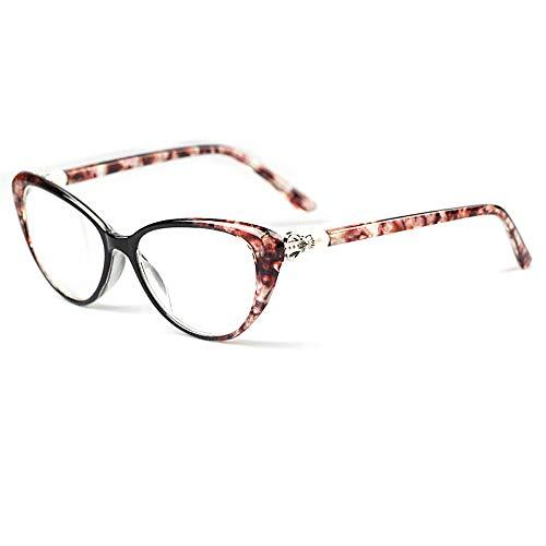 D&XQX Lesehilfe für Damen Cat Eye Perla Lesehilfe Leselampe elegant +2.00 rot