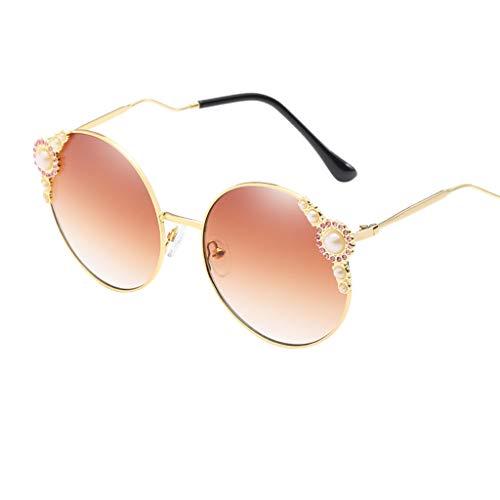 (REALIKE Damen Klassische Übergroße Sonnenbrille Vintage Brille Glänzend Verbundrahmen Frauen Gold Rund -Farben Verspiegelt Sunglasses Travel Eyewear)