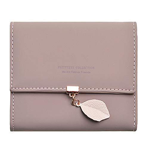 Damen PU Matte Leder Geldbörse Brieftasche mit Blatt Anhänger Kartenhalter Organizer Mädchen klein Cute Münze Purse mit Reißverschluss