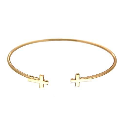 (Sweet Deluxe Armreif Cross, Gold I Armschmuck für Damen & Mädchen | Girl Armband/Armspange | Geschenk-Idee für Geburtstag, Hochzeit, Verlobung | Bangle Frauen Armkettchen)