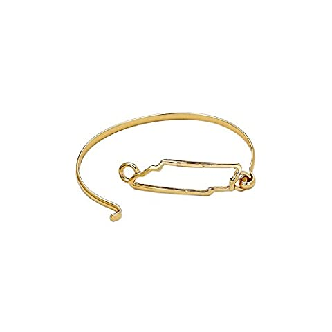 Rosemarie Collections Women's State Charm Hook Bangle Bracelet Gold Tone