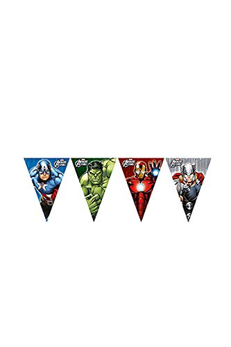 1 Wimpelkette * AVENGER ASSEMBLE * für Geburtstag und Motto-Party // Plastic Flag Banner Kindergeburtstag Kinder Motto Superheld (Avengers Geburtstag Banner)