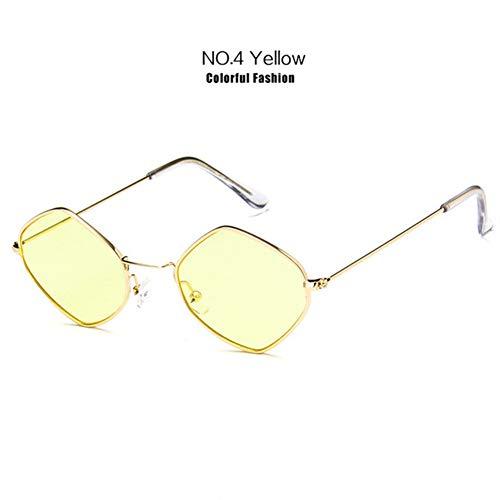 Li Kun Peng Kleine Sonnenbrille Frauen Vintage Metall Hexagon Klar Rosa Sonnenbrille Männer Retro Brillen Uv400 Brillen,C4Yellow