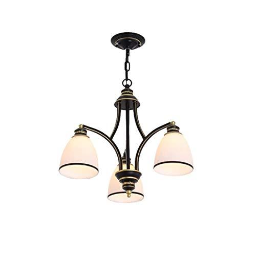 Antiker Kronleuchter geschmiedet Eisen Glas Lampenschirm Bronze geölt Hängelampe Rustikal Vintage Retro Beleuchtung für Schlafzimmer Wohnzimmer Küche Esszimmer (nach unten) - Glas Eisen Geschmiedet