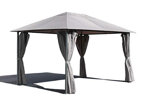 Quick-Star Metall Garten Pavillon Nizza 3x4m Grau mit 4 Seitenteilen Partyzelt