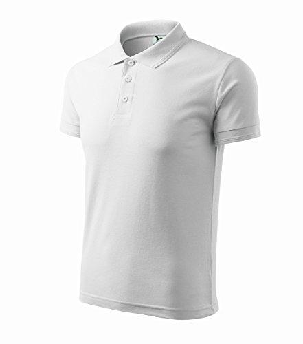 Adler Pique Polo-Hemd f. Herren Mischgewebe Fein Rippstrick u. Lockere Silhouette White