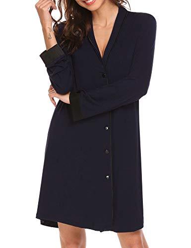 Jersey Kleid Nachthemd Tunika Pyjama Oberteil Mantel Einteiliger Schwangere Shirt Schlafanzug Frauen NegligeeKlassische lang - Mantel Pyjamas
