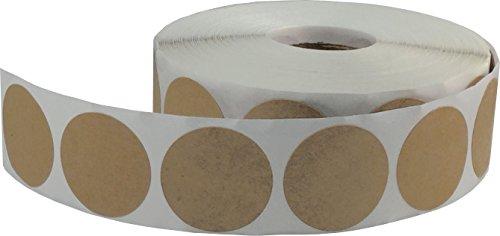 instocklabels. Com 1000pegatinas con forma de papel kraft etiquetas de codificación, 1), diseño de círculos, color marrón