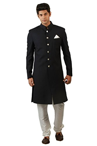 Herren Schwarz Designer Antik indischen jodhpuri Sherwani, Umhang, Schwarz, BLK-INDO-44 (Kurta Herren Designer)