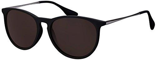 Sonnenbrille La Optica UV 400 Schutz Unisex Damen Herren Vintage Rund Round - Rahmen Schwarz Gummiert (Gläser: Braun)