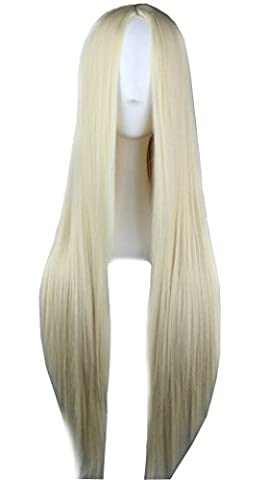 Quibine 75CM Cosplay Costume Wigs Blonde Perruque Longue Raides Anime Halloween Party Cheveux