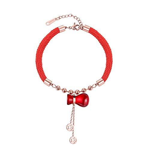 ürbis Fu Tasche Kupfer Geld Quaste Rot Seil Armband Titan Stahl Armband Schmuck Weibliche Modelle Hochzeitsgeschenk ()