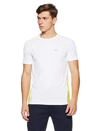 Ajile By Pantaloons Men's Plain Slim Fit T-Shirt (110041150!_White!_M)