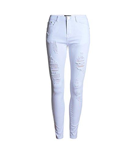 Baymate Femme Mince Crayon Pantalon Couleur Pure Ripped Trous déchiré Pantalons Jeans Blanc