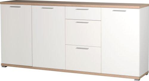 #Germania 3202-178 Sideboard GW-Top in Weiß/Absetzung Sonoma-Eiche-Nachbildung, 192 x 88 x 40 cm (BxHxT)#