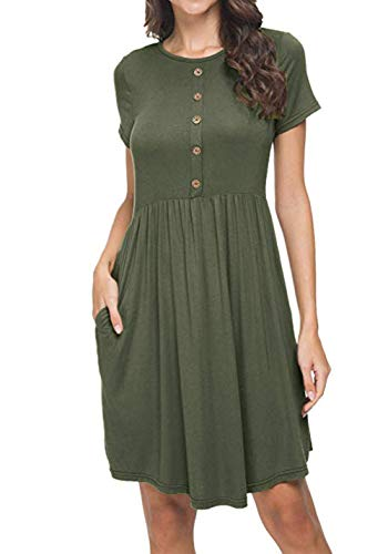 Yatrendy Damen Sommerkleider Rundhals Kurzarm T-Shirt Knielang Kurz Kleid Baumwolle Leicht A-Linie Kleider(Armeegrün, s)
