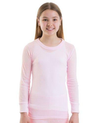 2-Girls-Thermal-Underwear-Long-Sleeve-Vest-Pink