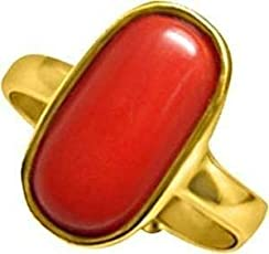 4.25 Ratti Red Coral Ring ADJUSTABLE| Moonga Ring Original Best Quality Moonga Ring| Pure Moonga Stone Ring 100% Original red coral gemstone | MOONGA / MUNGA STONE Ring| Natural & Original Top Quality Red Coral Ring (Moonga) / Coral Moonga 3.60cts or 4.25ratti stone Panchdhatu Adjustable Ring For Women / Men BY Pranjal Gems (Coral RED.)