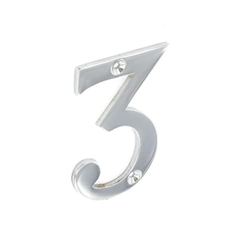 75MM CHROME PLATED DOOR HOUSE FLAT NUMBER NO 3