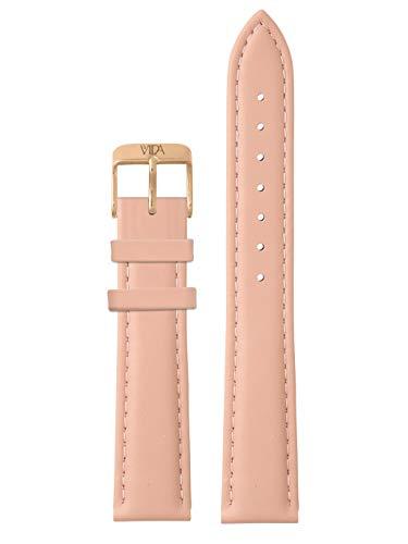 laVIIDA Uhrband LB-SVI2018R Ersatzband Uhrenarmband Leder 18 mm Rosa-Rosé