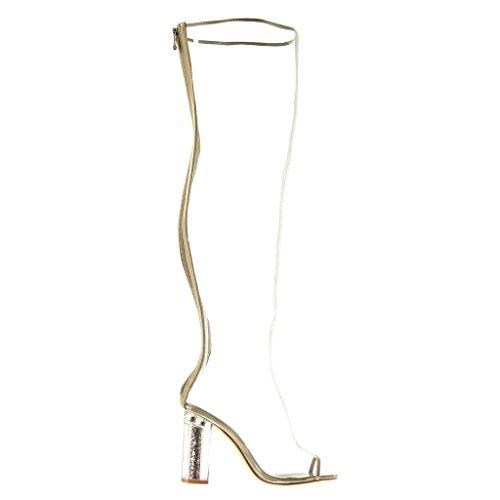 Angkorly Scarpe Da Donna Stivali Cosciali - Sexy - Peep-toe - Trasparente - Glitter - Tacco Alto Lucido Blocco Tacco 10 Cm Beige
