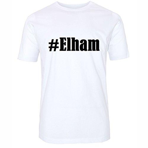 T-Shirt #Elham Hashtag Raute für Damen Herren und Kinder ... in den Farben Schwarz und Weiss Weiß