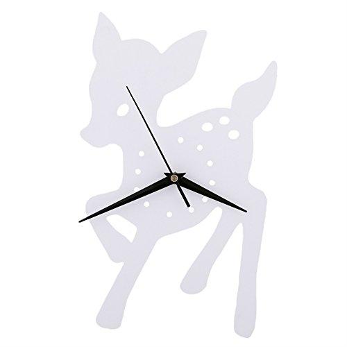Horloge murale de wapiti Chambre d'enfant Chambre Horloge silencieuse Belle famille Décoration Boutique