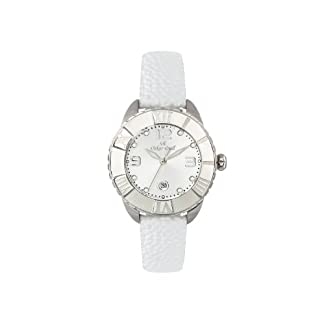 Oskar Emil Celine SS – Reloj analógico de Cuarzo para Mujer, Correa de Cuero Color Blanco
