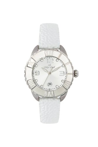 Oskar-Emil Classic Celine Crystal Women's Quartz Watch with Silver Dial Analogue Display and White Leather Strap