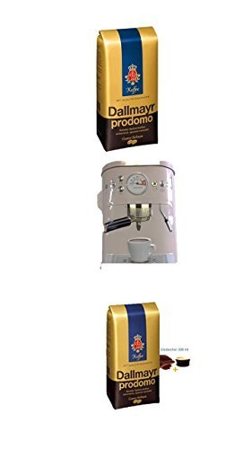 Dallmayr Prodomo ganze Bohnen 500g + Kaffeedose neu 3 D Design weiß + 4 Gläser mit Henkel 200ml