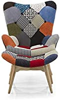 Urban Ladder Contour Chair & Ottoman Replica (Colour : Patchwork)