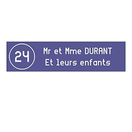 plaque boite aux lettres Decayeux NUMERO (100x25mm) violette lettres blanches - 2 lignes - Plaque violette - Lettre blanches - 2,5 cm